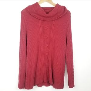 Jeanne Pierre | Red Cowl Neck Knit CottonSweater